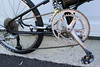 Shimano Deore group, FSA front changer, 53/44 front cogs, Crank Brothers Egg-beater pedals.